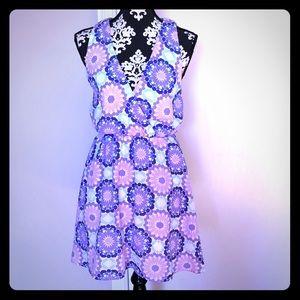 Fun Patterned Dress in Purples + Blues